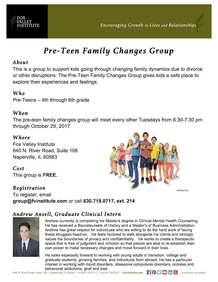 PreTeen Family Changes Group